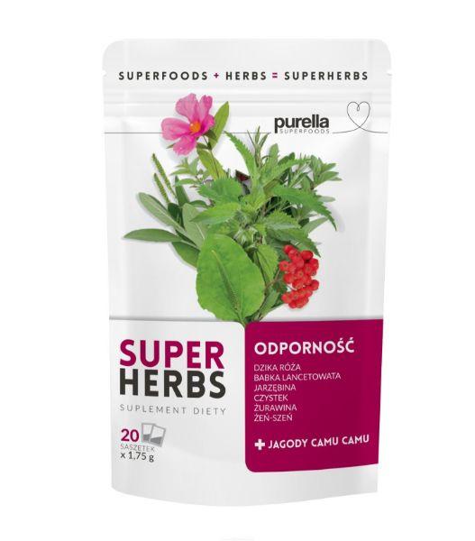Obrazek Purella SuperHerbs herbata na ODPORNOŚĆ 20 sasz.