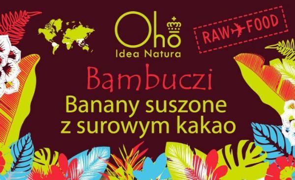 Obrazek Flott Banany suszone z surowym kakao Bambuczi 50g