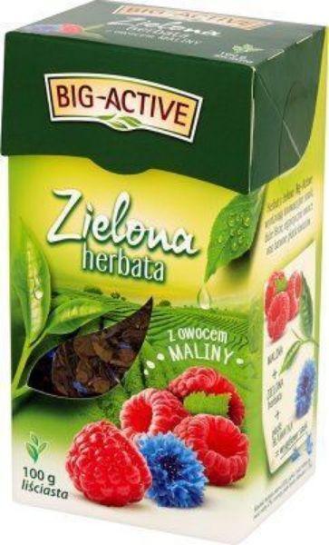 Obrazek Bio-Active Zielona herbata z maliną liściasta